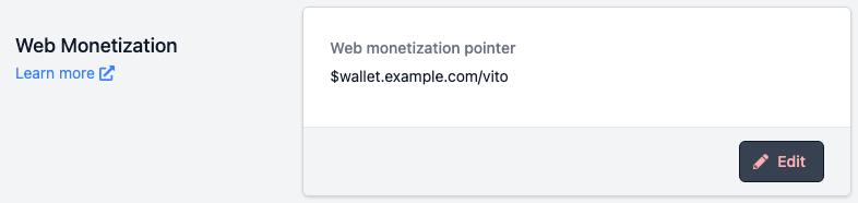 Screenshot of menu to add web monetization pointer to Vito